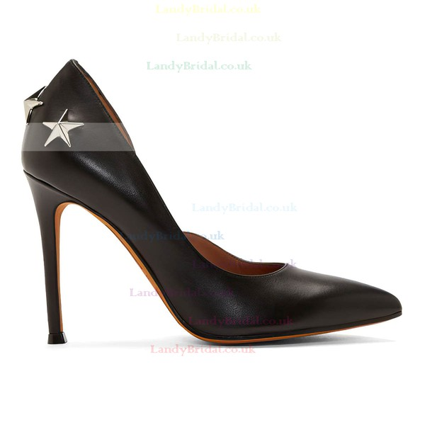Women's Black Real Leather Stiletto Heel Pumps