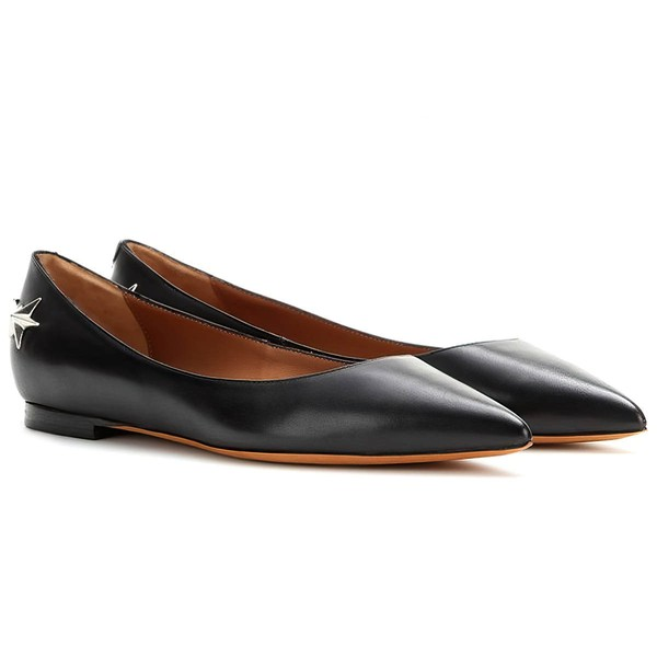 Women's Black Real Leather Flat Heel Closed Toe #LDB03030714