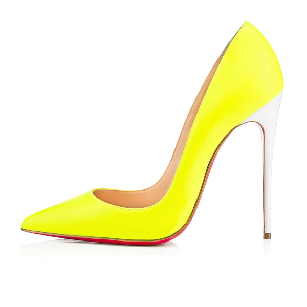 Women's Yellow Patent Leather Stiletto Heel Pumps #LDB03030716