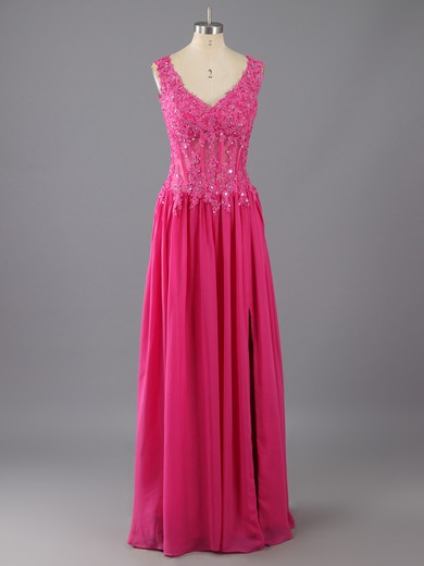 V-neck Fuchsia Chiffon Appliques Lace and Split Front A-line Prom Dress #LDB02014226