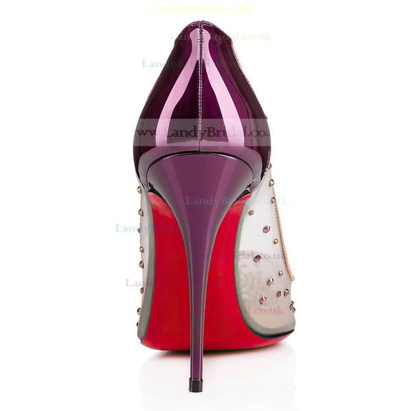 Women's Purple Patent Leather Stiletto Heel Pumps #LDB03030718