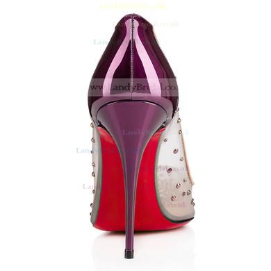 Women's Purple Patent Leather Stiletto Heel Pumps #LDB03030718