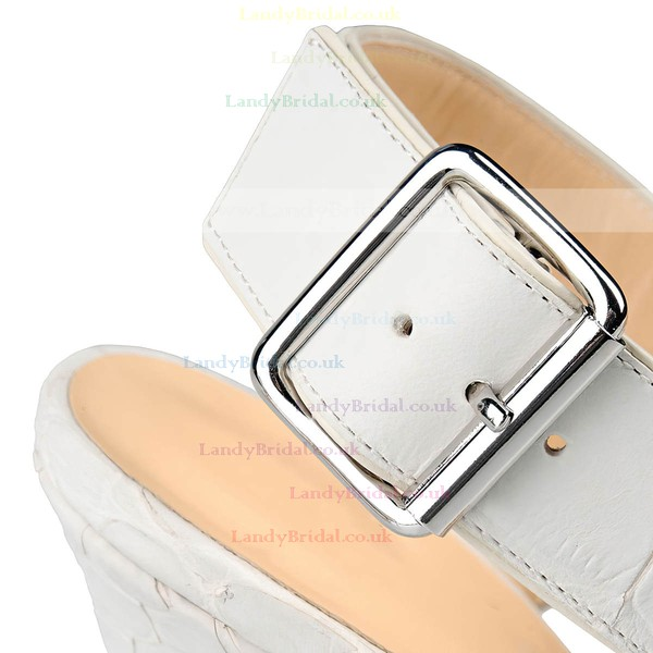 Women's White Real Leather Stiletto Heel Pumps