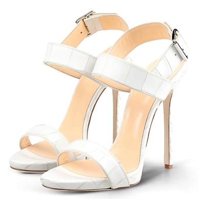 Women's White Real Leather Stiletto Heel Pumps #LDB03030721