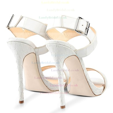 Women's White Real Leather Stiletto Heel Pumps #LDB03030721