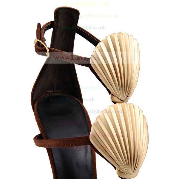 Women's Brown Suede Stiletto Heel Sandals