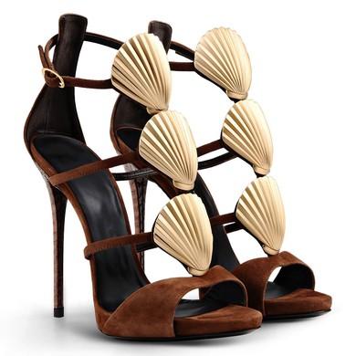 Women's Brown Suede Stiletto Heel Sandals #LDB03030725