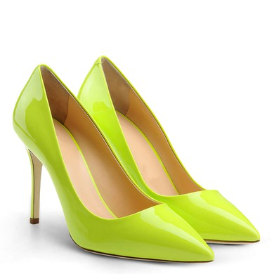 Women's Grass Green Patent Leather Stiletto Heel Pumps #LDB03030726