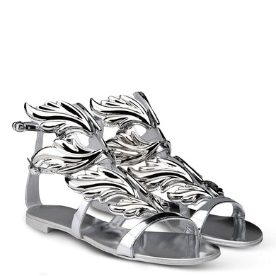Women's Silver Patent Leather Flat Heel Sandals #LDB03030727