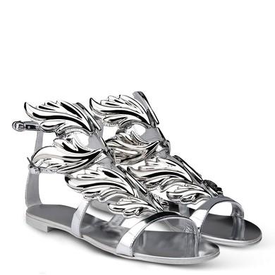 Women's Silver Patent Leather Flat Heel Sandals #LDB03030727