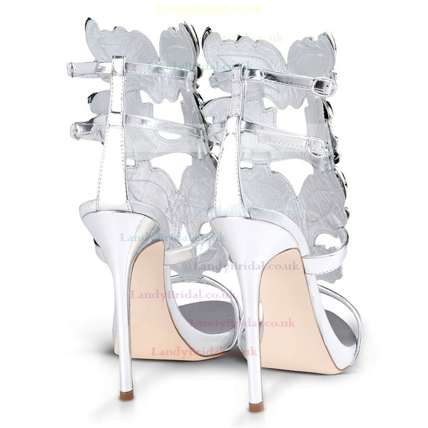 Women's Silver Patent Leather Stiletto Heel Sandals