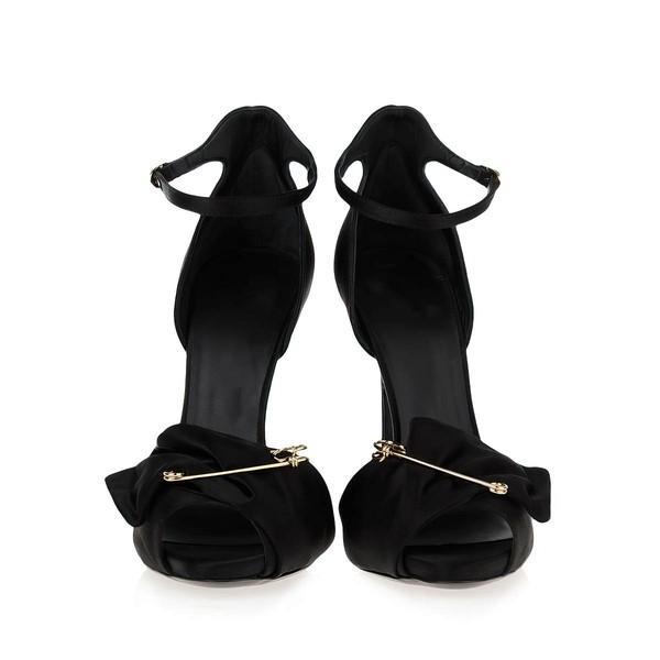 Women's Black Satin Stiletto Heel Sandals