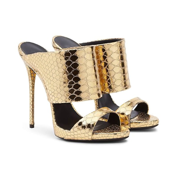Women's Gold Real Leather Stiletto Heel Sandals #LDB03030732