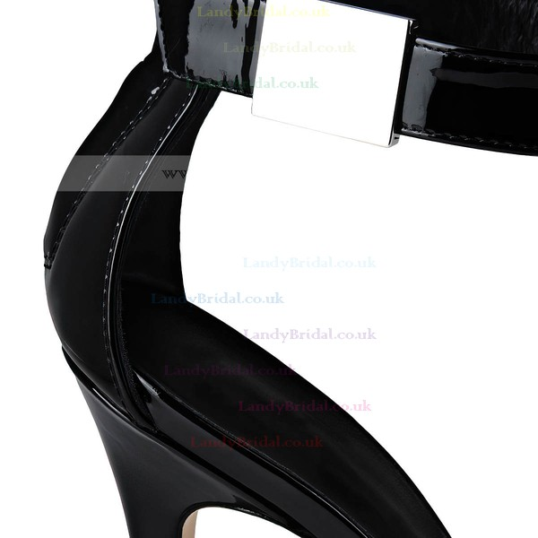 Women's Black Patent Leather Stiletto Heel Sandals