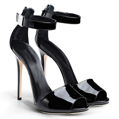 Women's Black Patent Leather Stiletto Heel Sandals #LDB03030733