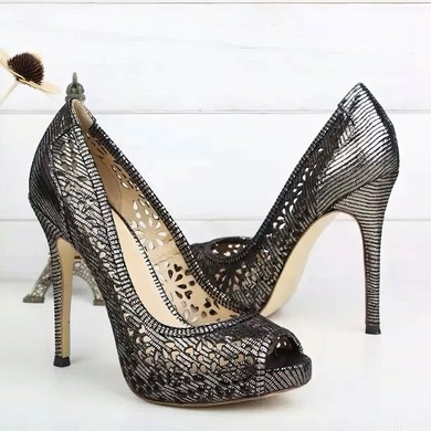 Women's Dark Gray Real Leather Stiletto Heel Pumps #LDB03030734