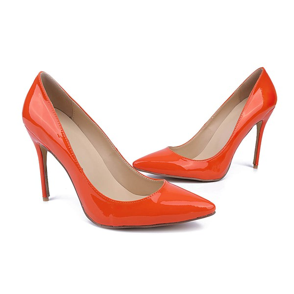 Women's Orange Patent Leather Stiletto Heel Pumps #LDB03030735