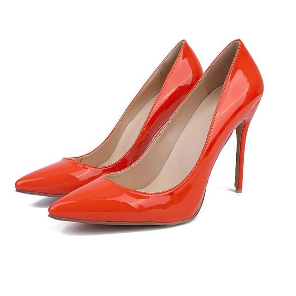 Women's Orange Patent Leather Stiletto Heel Pumps