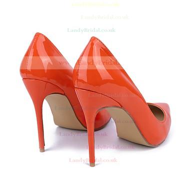 Women's Orange Patent Leather Stiletto Heel Pumps #LDB03030735