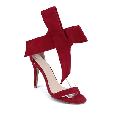 Women's Burgundy Suede Stiletto Heel Sandals #LDB03030736