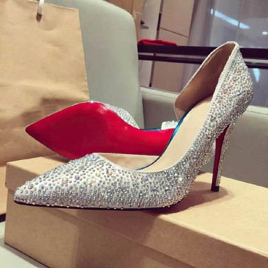 Women's Silver Satin Stiletto Heel Pumps #LDB03030738