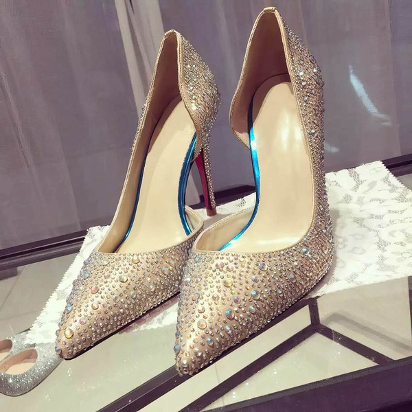 Women's Gold Satin Stiletto Heel Pumps #LDB03030739