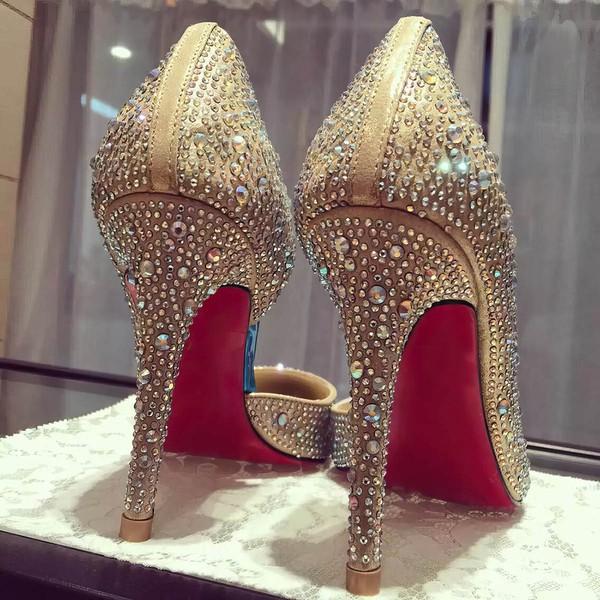 Women's Gold Satin Stiletto Heel Pumps
