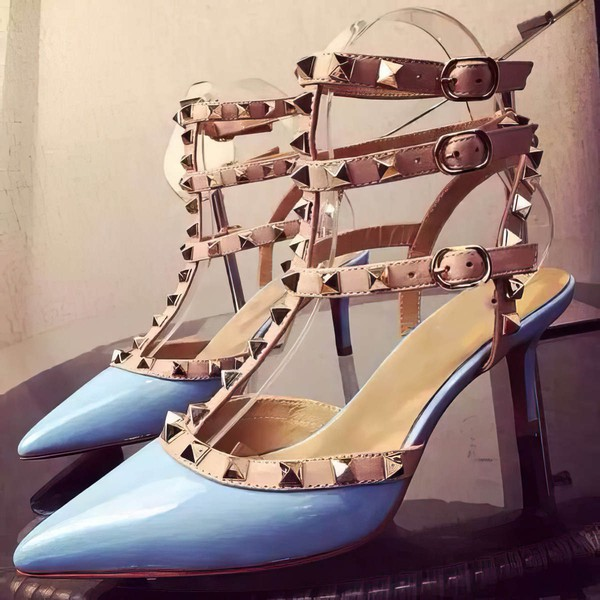 Women's Blue Patent Leather Kitten Heel Pumps #LDB03030740