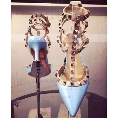 Women's Blue Patent Leather Kitten Heel Pumps #LDB03030740