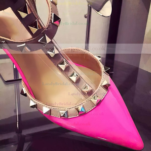 Women's Fuchsia Patent Leather Kitten Heel Pumps