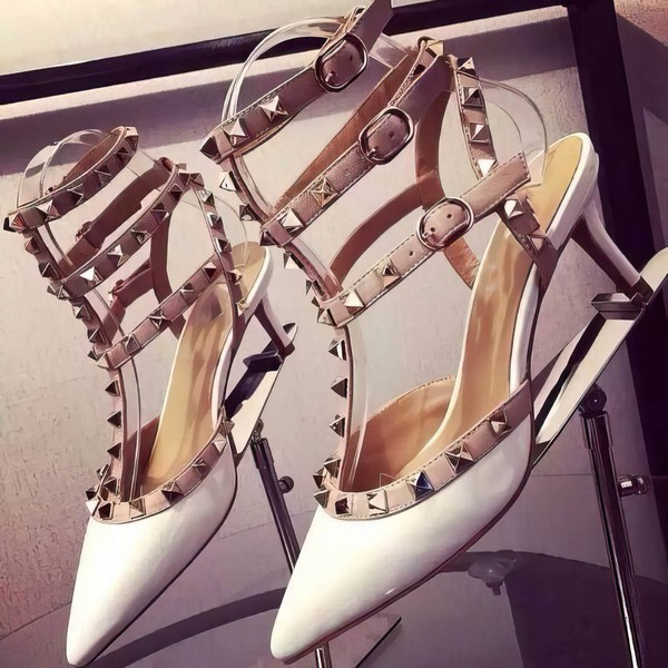 Women's White Patent Leather Kitten Heel Pumps #LDB03030743