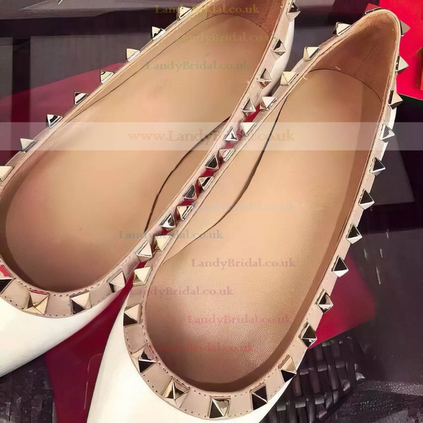 Women's White Patent Leather Flat Heel Flats