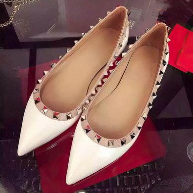 Women's White Patent Leather Flat Heel Flats #LDB03030746