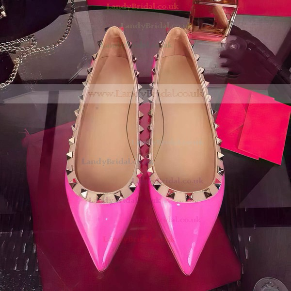 Women's Pale Pink Patent Leather Flat Heel Flats