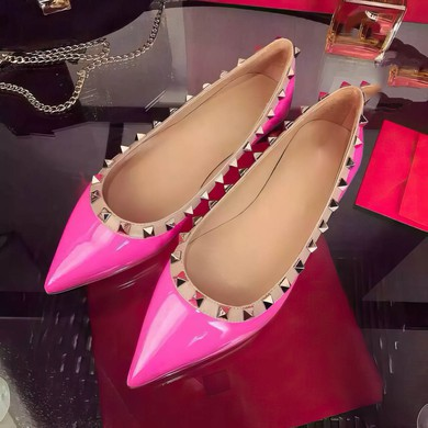 Women's Pale Pink Patent Leather Flat Heel Flats #LDB03030747