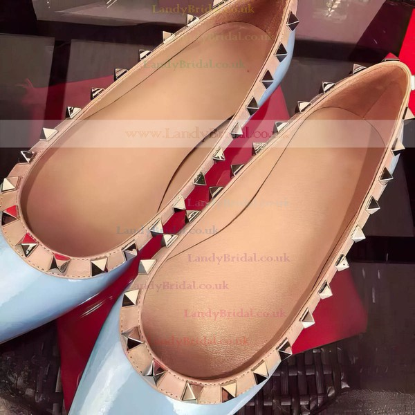 Women's Blue Patent Leather Flat Heel Flats