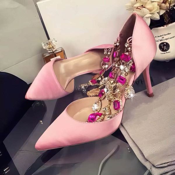 Women's Pink Satin Stiletto Heel Pumps #LDB03030750