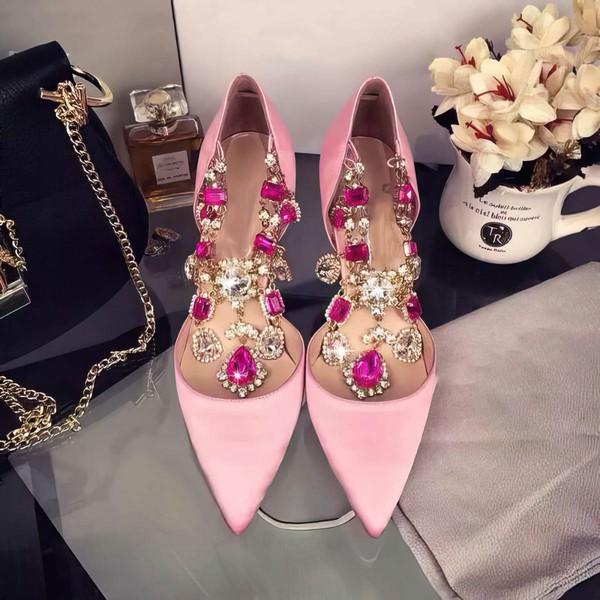 Women's Pink Satin Stiletto Heel Pumps