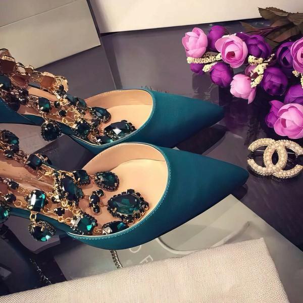 Women's Green Satin Stiletto Heel Pumps