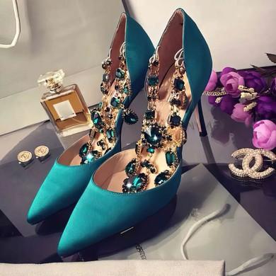 Women's Green Satin Stiletto Heel Pumps #LDB03030751