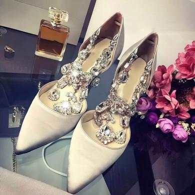 Women's Ivory Satin Stiletto Heel Pumps #LDB03030752