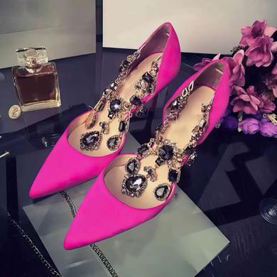 Women's Fuchsia Satin Stiletto Heel Pumps #LDB03030753