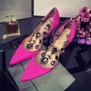 Women's Fuchsia Satin Stiletto Heel Pumps #LDB03030753