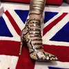 Women's Gold Real Leather Stiletto Heel Pumps #LDB03030755