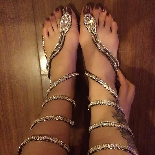 Women's Silver Real Leather Flat Heel Sandals #LDB03030756