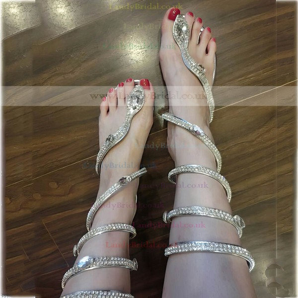 Women's Silver Real Leather Flat Heel Sandals