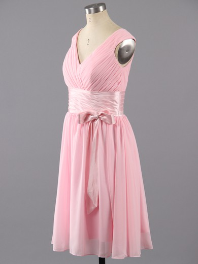 Simple Knee-length with Ruffles V-neck Pink Chiffon Prom Dresses #LDB02042387