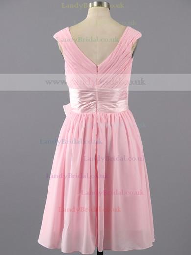 Simple Knee-length with Ruffles V-neck Pink Chiffon Prom Dresses #LDB02042387