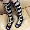 Women's Black Suede Flat Heel Sandals #LDB03030757