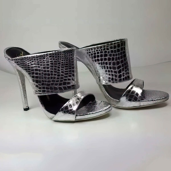 Women's Silver Real Leather Stiletto Heel Sandals #LDB03030758